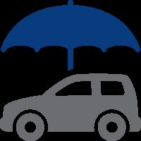car with umbrella over it icon