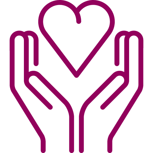 heart in hand icon red