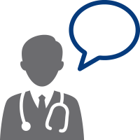 doctor with speech bubble icon